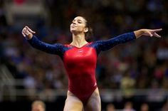 Aly Raisman competes on the floor exercise during the final night of the 2012 USA Gymnastics Olympic Trials.  She finished atop the event standings after the end of competition.
