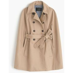 J.Crew Trench Cape ($215) ❤ liked on Polyvore featuring outerwear, coats, beige cape coat, beige trench coat, beige coat, cotton trench coat and cape coat