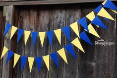 MINIONS [inspired] Pennant Banner/ Triangle Garland- Yellow and Royal Blue