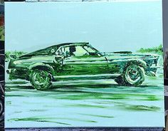 """John Wick Mustang"", #michaelscottwoodcock Art Original Oil Painting Canvas 