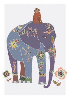 Indian Elephant & Jungle Monkey Art  Safari by piiapodersalu, $24.00