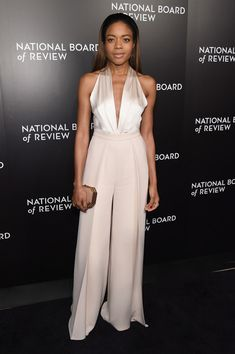 Naomie Harris Halter Top - Naomie Harris looked sultry and sophisticated in a plunging ivory halter top by Brandon Maxwell at the National Board of Review Gala.
