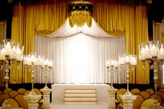 Gold and black wedding altar at Palmer House Hilton Hotel.