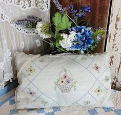 Sweet Cottage Boudoir Embroidered Organdy Down 1920's Pillow | eBay | Vintageblessings