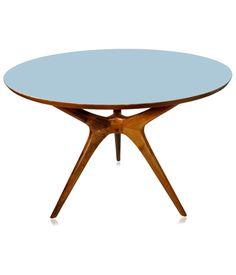 Mesa de Jantar redonda, tampo em formica fosca, base em imbuia maciça. www.desmobilia.com.br