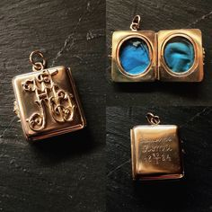 Solid Gold Antique Victorian Locket. A beautiful large square locket in solid 15ct gold.