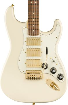 Fender Limited Edition Mahogany Blacktop Strat in Opal White w/ 3 Humbuckers - Andertons Music Co. Fender Stratocaster, Fender Guitars, Gretsch, Music Guitar, Cool Guitar, Playing Guitar, Guitar Art, 70s Fashion, Vintage Fashion