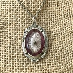 Art Deco Purple Camphor Glass Necklace. Antique Edwardian Era Sunburst Glass Necklace Antique Purple Wedding Necklaces. by TheOldJunkTrunk