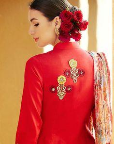 Red Pure Linen Designer Salwar Kameez 44356