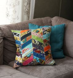Beautiful pillow made from fabric scraps | Backwoods Babe