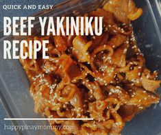 Quick and easy beef yakiniku recipe Beef Marinade, Chicken Marinade Recipes, Sauce Recipes, Beef Recipes, Cooking Recipes, Beef Recipe Japanese, Japanese Food, Easy Filipino Recipes, Asian Recipes
