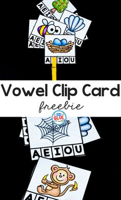 Vowel Clip Card Printable Freebie First Grade Freebies, Kindergarten Freebies, Kindergarten Language Arts, Vowel Activities, Kindergarten Activities, Preschool, Kindergarten Reading, Reading Activities, Reading Centers