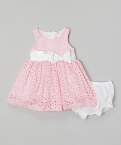 Another great find on #zulily! Pink Eyelet Dress & Diaper Cover - Infant #zulilyfinds