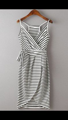 White & Black striped tank dress with racer back back. Wrap dress. Stitch Fix