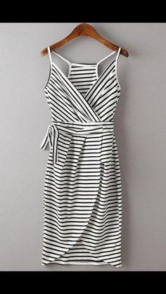 White & Black striped tank dress with racer back back. Wrap dress. Stitch Fix