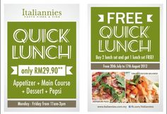 Italiannies : Buy 2 Free 1 Set Quick Lunch Promotion