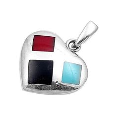 925 Sterling Silver Heart Pendant with Turquoise, Carnelian and Onyx Inlay #Pendant