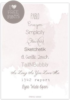 Dreierlei Liebelei: I ♥ Free Fonts! Part 9  ~~  {10 FREE fonts w/ links  ~~  the blog is in German, but Google will translate it for you - the fonts are universal!}
