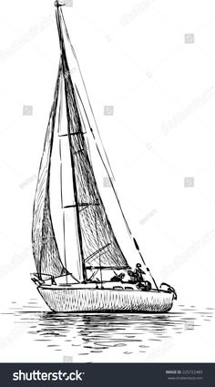 Find Sailing Yacht stock images in HD and millions of other royalty-free stock photos, illustrations and vectors in the Shutterstock collection. Sailboat Drawing, Sailboat Art, Sailboats, Segel Tattoo, Sailing Tattoo, Wave Illustration, Yacht Week, Ship Drawing, Foto Transfer
