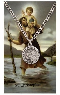 Round St. Christopher Medal with Prayer Card.More info for cute necklaces for her;cheap necklaces;great necklaces;necklaces for girlfriend;cute simple gold necklaces could be found at the image url.(This is an Amazon affiliate link and I receive a commission for the sales)