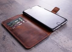 iPhone 6 plus Case Leather iPhone 6s plus Case by barvaleather magentic clasp