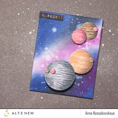 Hello, everyone! Anna is here today. I like theme of space, stars, far far away planets. And last time I have this theme in my cards. And it was some time ago I decided to create a card with planet...