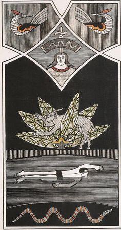 """Samico, O outro lado do rio (1980), xilogravura 90x47 cm. Reprodução fotográfica do catálogo da exposição """"Samico: do desenho à gravura"""", Pinacoteca do Estado de São Paulo, 2004."""