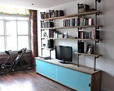 Luigi Reclaimed Grey Washed Scaffolding Board Cupboard/Drawer Unit with Painted Glass Sliding Doors and Dark Steel Pipe Supported Shelving Industrial Furniture, Vintage Industrial, Industrial Design, Converted Warehouse, Urban Apartment, Bedroom Cupboard Designs, Scaffold Boards, Box Bed, Sliding Glass Door