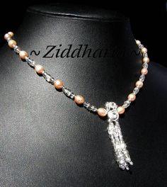 Set Necklace, Bracelet & Earrings Bridal: Apricot Freshwaterpearls Swarovski Crystals - Handmade beaded Jewelry and Beading by Ziddharta by Ziddharta on Etsy