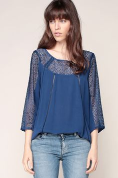 openwork lace top indigo Lindie - 2two