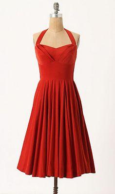 Vintage Red-Orange Dress
