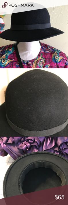 """VTG Felt Hat Handmade in Switzerland 🇨🇭 Vintage '83 Handmade in Switzerland for me. Has black satin ribbon on outside and inner circumstance of 20 1/2"""". Brim 2"""", 11"""" long, 10 1/2"""" wide and 4 1/2"""" high. All measurements are approximate, give or take 0.5"""". Hand knotted. Worn only to try on. NWOT Handmade Accessories Hats"""