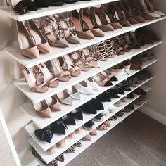 Shoe room, closet bedroom, closet space, master closet, walk in closet Closet Shoe Storage, Shoe Racks, Shoe Closet Organization, Bedroom Organization, Organization Ideas, Shoe Shelves, Shoe Room, Small Space Bedroom, Master Bedroom Closet