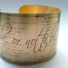 Hamlet Tragedy by Shakespeare 'To Be Or Not To Be' Old English Literary Quote Brass Cuff Bracelet