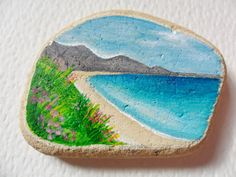 A sunny beach in Australia - Acrylic miniature painting on English sea pottery