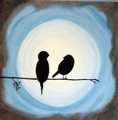 Color inspiration for using two of the birds from the Birds & Branch stamp. Love this glowing bright moon behind them.