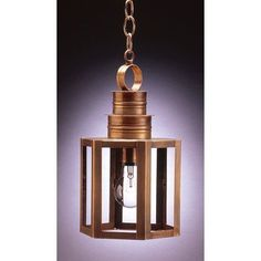 Northeast Lantern Hardwick 1 Light Outdoor Hanging Lantern Finish: Antique Brass, Shade Type: Clear