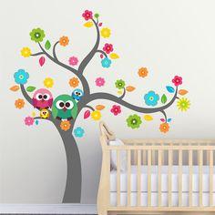 Happy tree with owls wall sticker - Art-8.eu Nursery Wall Stickers, Nhk, Nursery Ideas, Owls, Happy, Home Decor, Decoration Home, Room Decor, Nursery Room Ideas