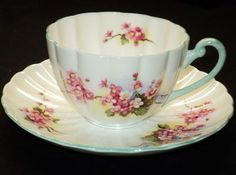 Shelley Pink Blossom Ludlow Ribbed TEA CUP AND Saucer | eBay
