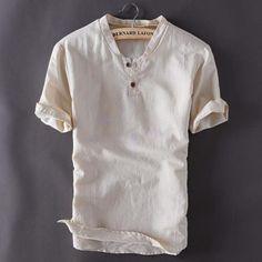 2018 Summer New Loose Cotton Linen T-shirt Men Short Sleeve .