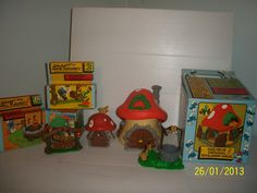 Vintage Peyo Smurf Mushroom House Large and Small and Village Playset Pieces. $85.00, via Etsy.