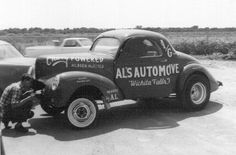 """Al Palmatary's beautiful '41 Willys A / Gasser at Wichita Falls Dragway, Texas sometime in the late '60s. That's Al looking into the grille opening where his fuel tank was located. This one featured a 389"""" stroker Chevy smallblock with Hilborn injectors and the very first TorqueFlite trans adapted for that use. This car regularly ran over 140 in the quarter with that combo."""