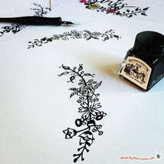 Learn how to draw simple flower borders with a dipping pen to accent your hand lettered calligraphy projects!