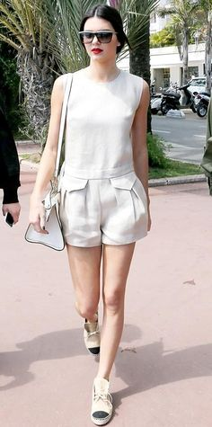 MAY 18, 2014 Kendall Jenner Kendall Jenner was spotted in Cannes, France in a cream Longchamp linen playsuit. The model added a Longchamp handbag and Chanel espadrille sneakers to complete her look.