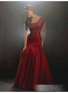 Modest Red Beaded Prom Dress $92.99