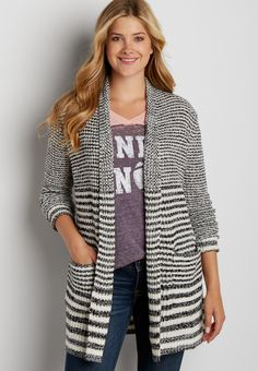thick knit striped cardigan