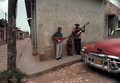 Rene Burri. Cuba. 1993. Musicians on the Plaza Mayor, of Trinidad.