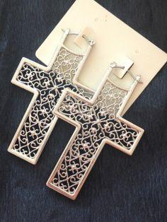 ♥ Gothic Filigree Cross Earrings