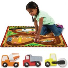 Alfombra de juegos around the construction zone de gran calidad que incluye 3 vehículos de la construcción de madera.