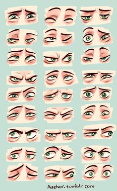 "anatoref: "" Cartoon Eyes Top & 2 (Left, Middle) Row 2 Right, by Sandro…"